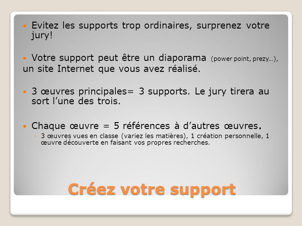 Créez votre support Evitez les supports trop ordinaires, surprenez votre jury! Votre support peut être un diaporama (power point, prezy…), un site Int