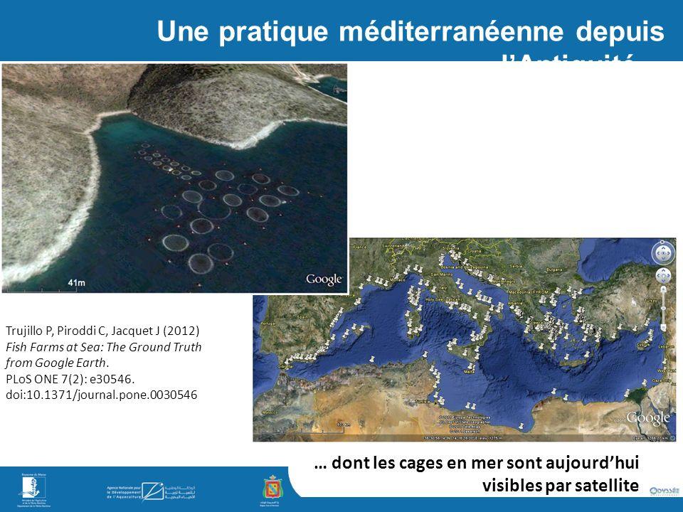Une pratique méditerranéenne depuis lAntiquité… Trujillo P, Piroddi C, Jacquet J (2012) Fish Farms at Sea: The Ground Truth from Google Earth.