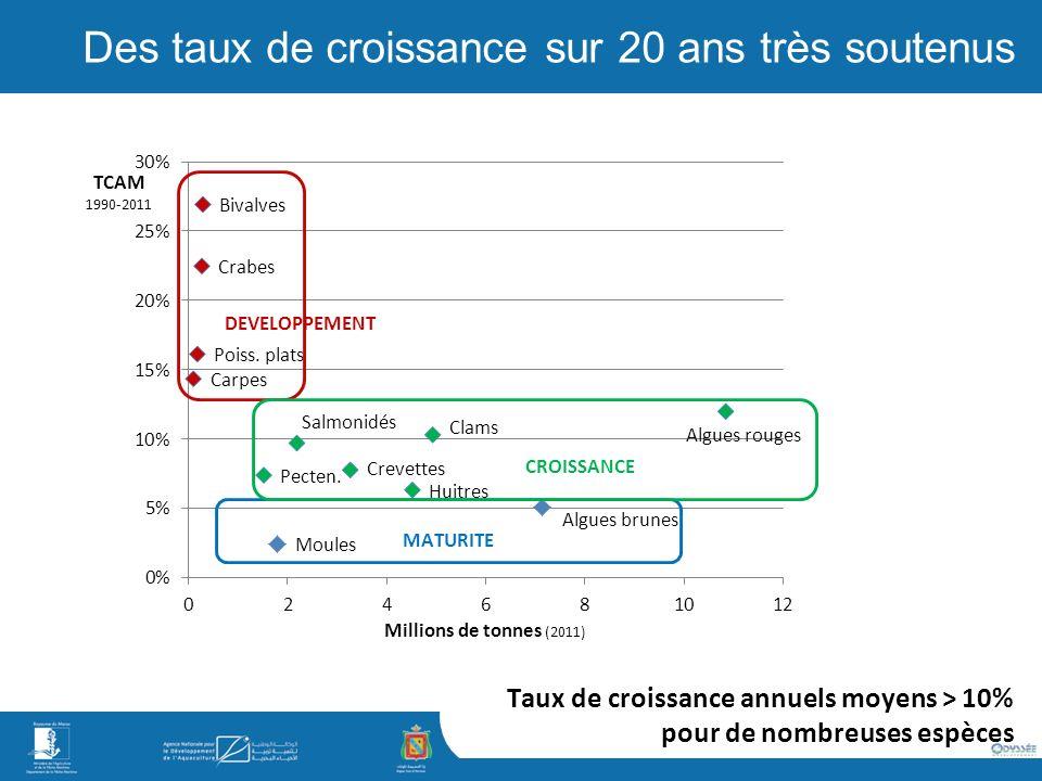Taux de croissance annuels moyens > 10% pour de nombreuses espèces Des taux de croissance sur 20 ans très soutenus DEVELOPPEMENT CROISSANCE MATURITE