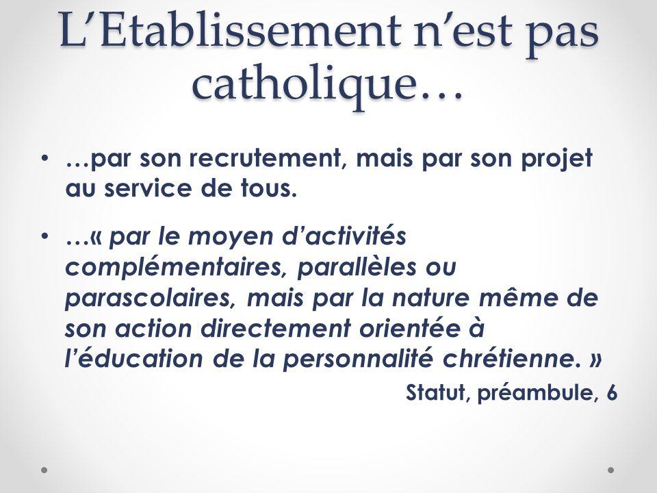 LEtablissement nest pas catholique… …par son recrutement, mais par son projet au service de tous. …« par le moyen dactivités complémentaires, parallèl