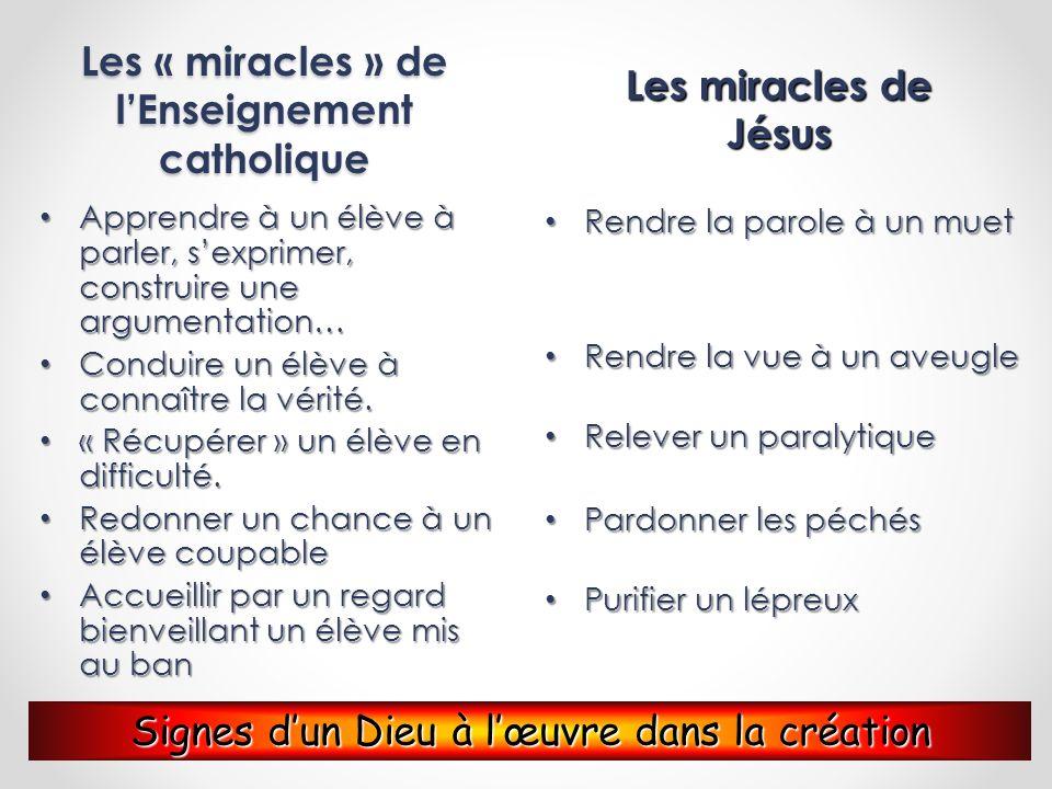 Les « miracles » de lEnseignement catholique Apprendre à un élève à parler, sexprimer, construire une argumentation… Apprendre à un élève à parler, se