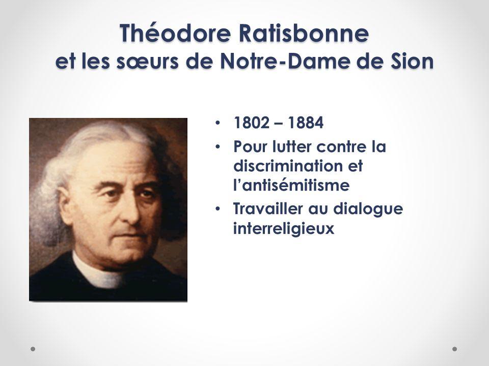 Théodore Ratisbonne et les sœurs de Notre-Dame de Sion 1802 – 1884 Pour lutter contre la discrimination et lantisémitisme Travailler au dialogue inter