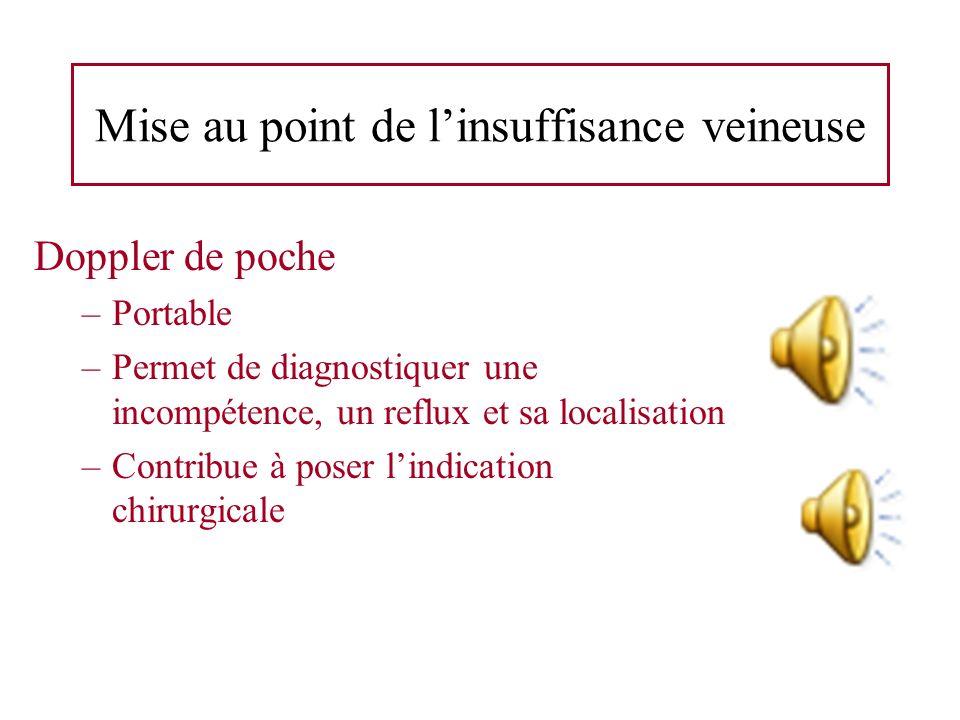 Mise au point de linsuffisance veineuse Doppler de poche –Portable –Permet de diagnostiquer une incompétence, un reflux et sa localisation –Contribue