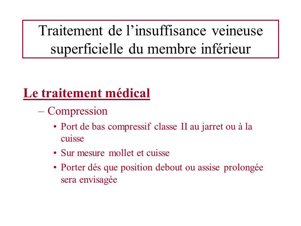 Traitement de linsuffisance veineuse superficielle du membre inférieur Le traitement médical –Compression Port de bas compressif classe II au jarret o