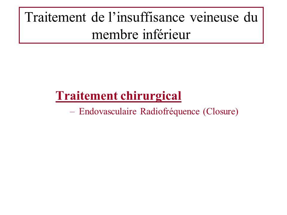Traitement de linsuffisance veineuse du membre inférieur Traitement chirurgical –Endovasculaire Radiofréquence (Closure)