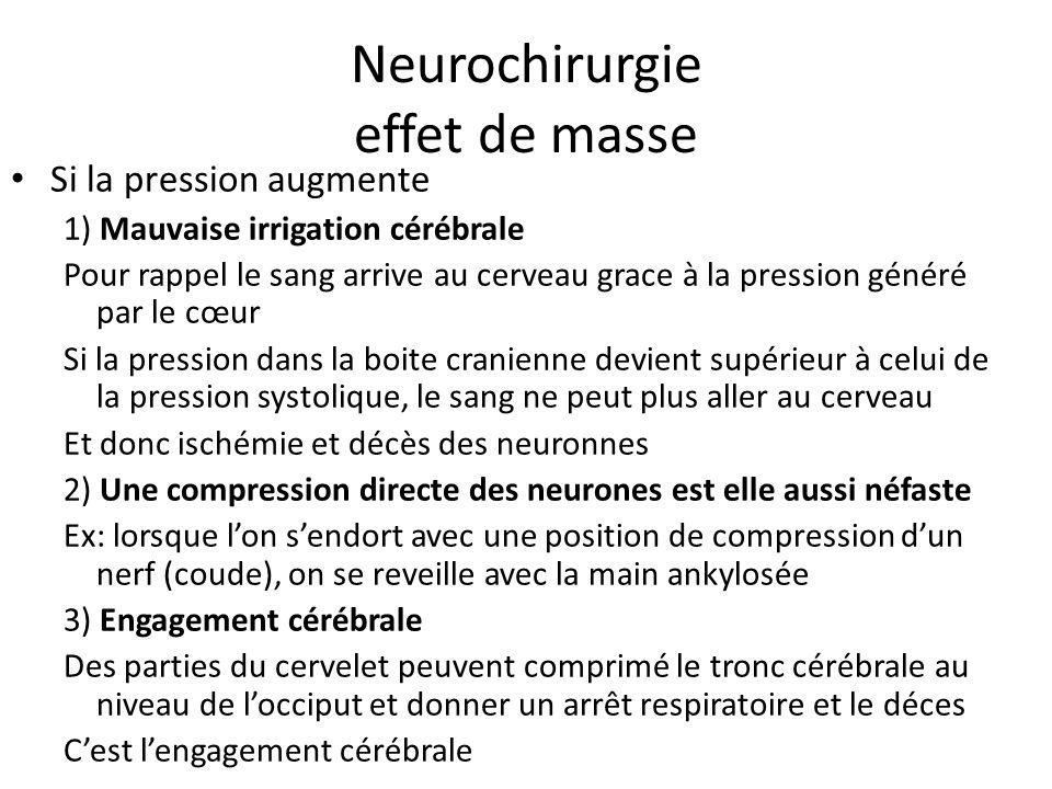 Neurochirurgie effet de masse Si la pression augmente 1) Mauvaise irrigation cérébrale Pour rappel le sang arrive au cerveau grace à la pression génér