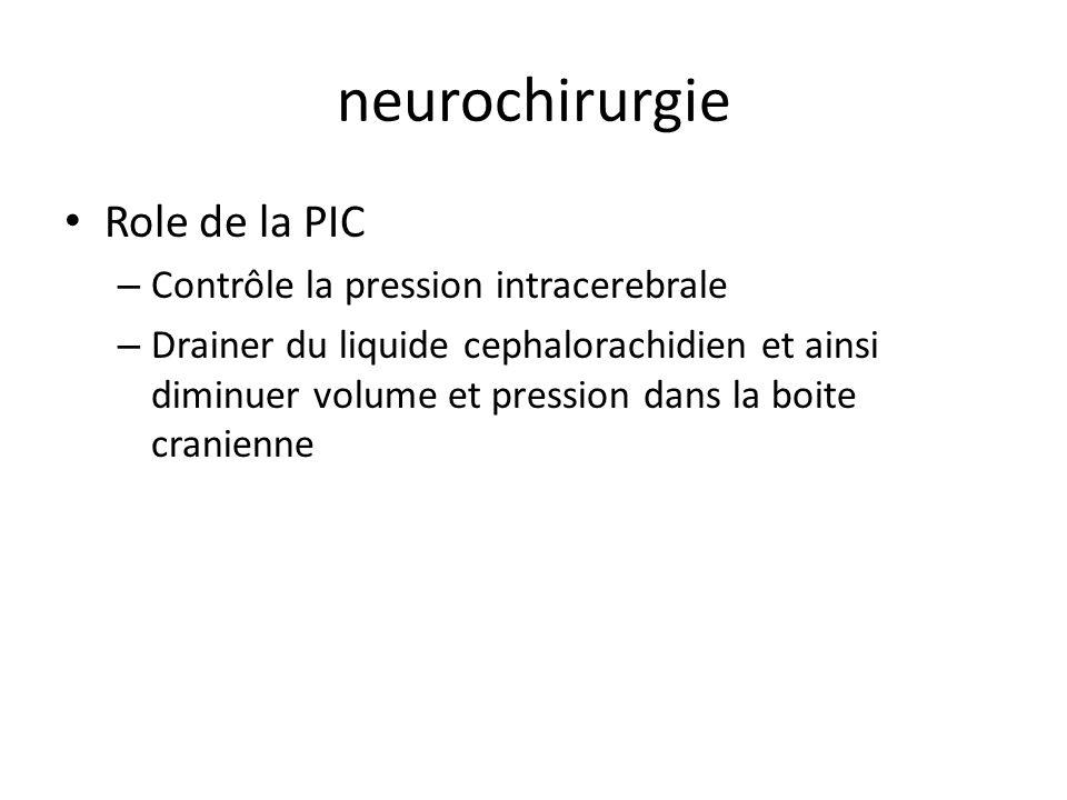 neurochirurgie Role de la PIC – Contrôle la pression intracerebrale – Drainer du liquide cephalorachidien et ainsi diminuer volume et pression dans la