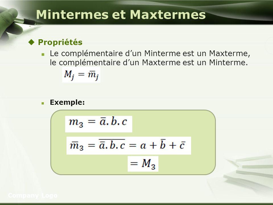 Mintermes et Maxtermes Propriétés Le complémentaire dun Minterme est un Maxterme, le complémentaire dun Maxterme est un Minterme. Exemple: Company Log