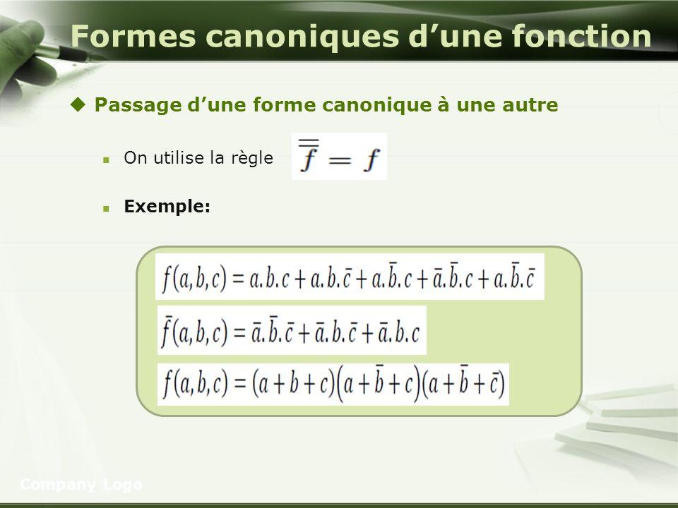 Formes canoniques dune fonction Passage dune forme canonique à une autre On utilise la règle Exemple: Company Logo