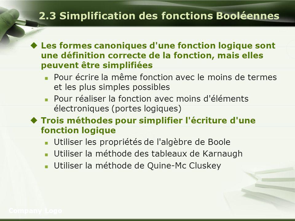 2.3 Simplification des fonctions Booléennes Les formes canoniques d'une fonction logique sont une définition correcte de la fonction, mais elles peuve