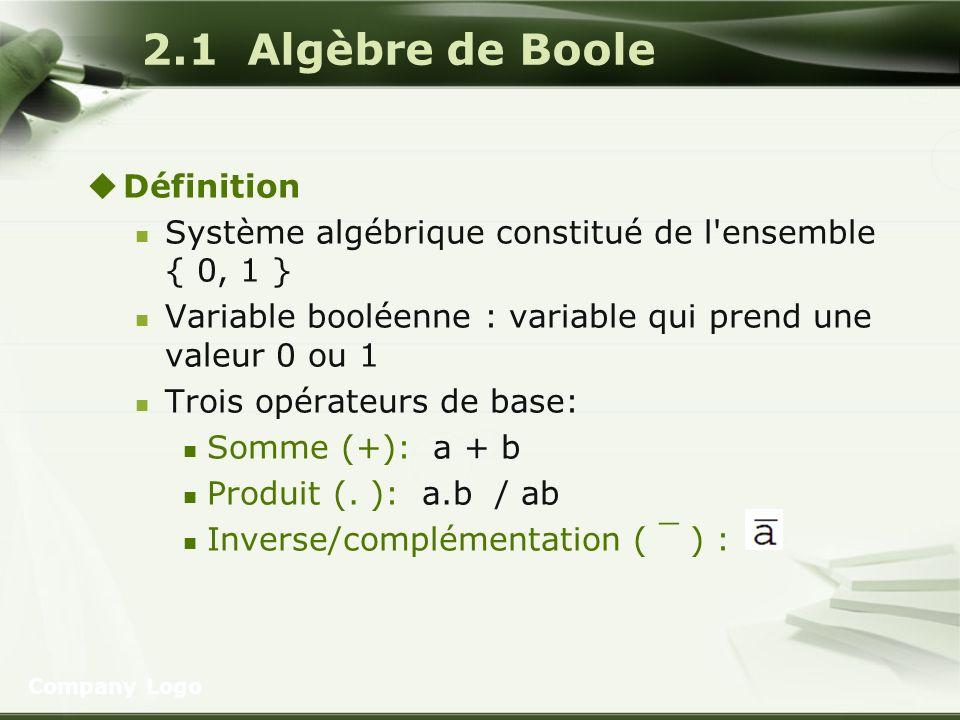 Company Logo 2.1 Algèbre de Boole Définition Système algébrique constitué de l'ensemble { 0, 1 } Variable booléenne : variable qui prend une valeur 0