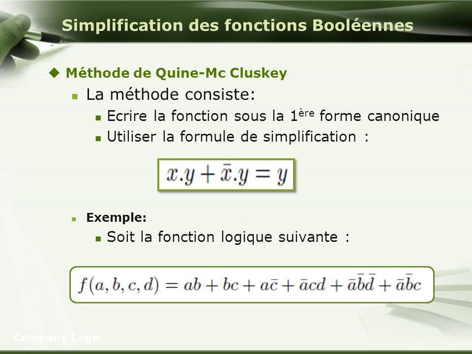 Simplification des fonctions Booléennes Méthode de Quine-Mc Cluskey La méthode consiste: Ecrire la fonction sous la 1 ère forme canonique Utiliser la