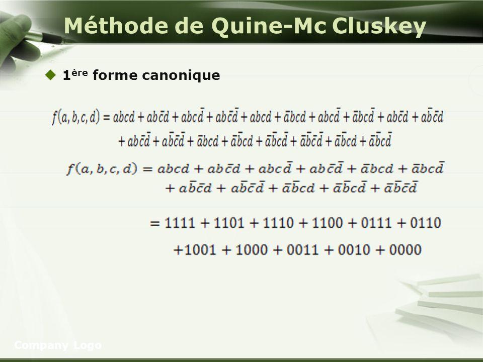 Méthode de Quine-Mc Cluskey 1 ère forme canonique Company Logo