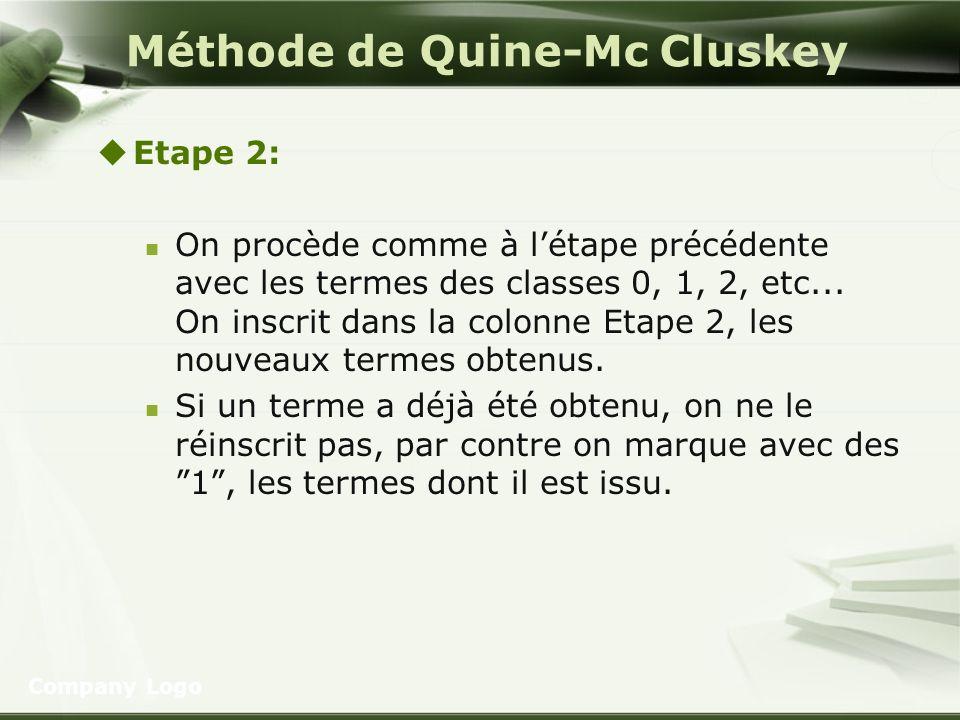 Méthode de Quine-Mc Cluskey Etape 2: On procède comme à létape précédente avec les termes des classes 0, 1, 2, etc... On inscrit dans la colonne Etape