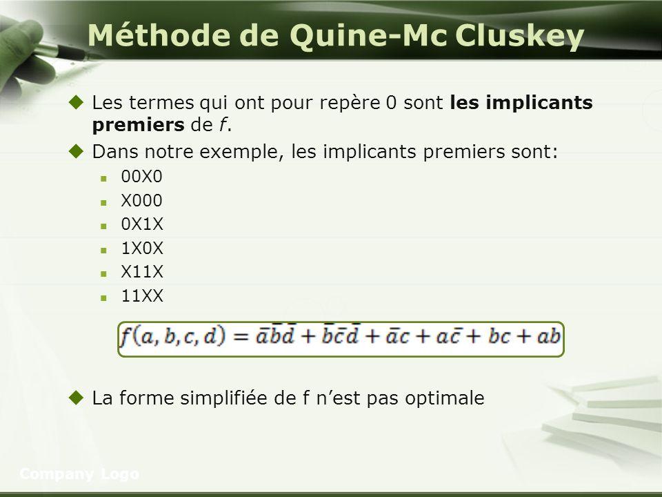 Méthode de Quine-Mc Cluskey Les termes qui ont pour repère 0 sont les implicants premiers de f. Dans notre exemple, les implicants premiers sont: 00X0