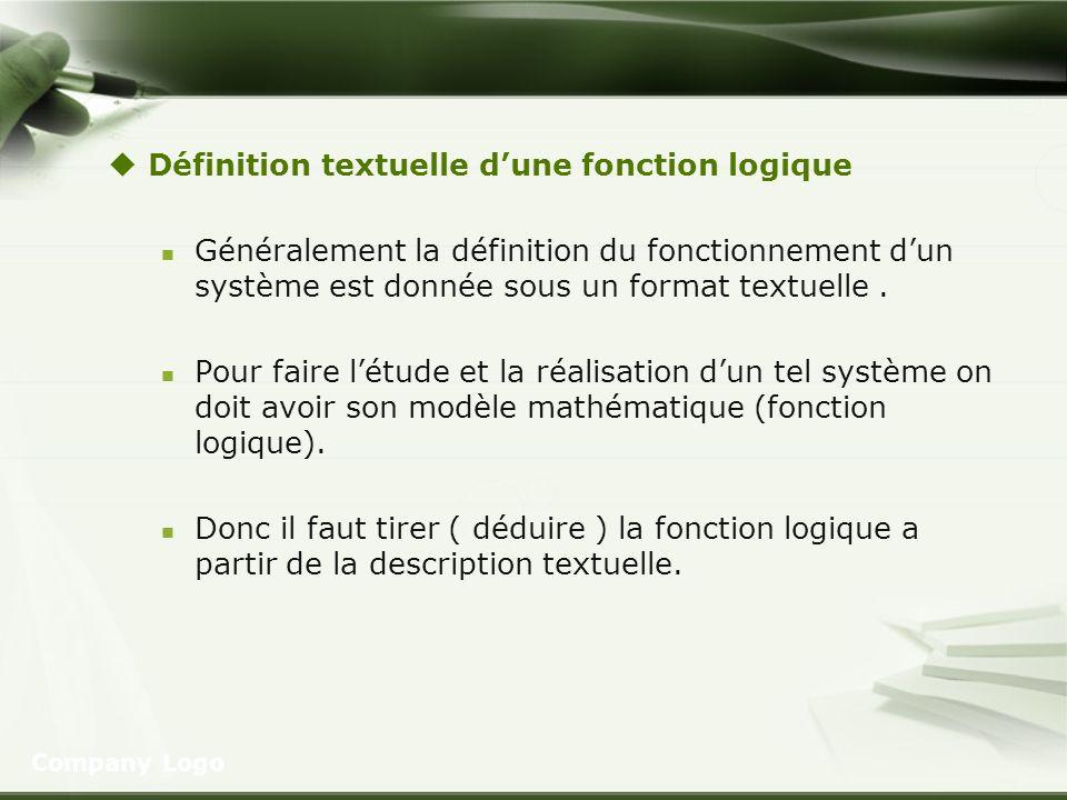 Définition textuelle dune fonction logique Généralement la définition du fonctionnement dun système est donnée sous un format textuelle. Pour faire lé
