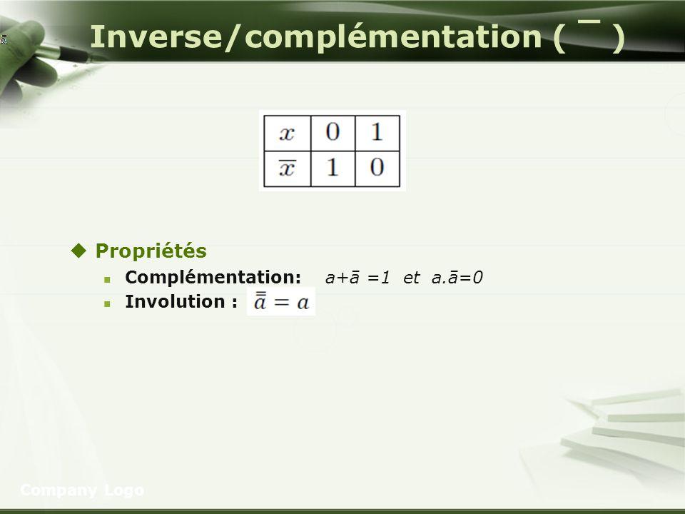 Inverse/complémentation ( ¯ ) Propriétés Complémentation: a+ā =1 et a.ā=0 Involution : Company Logo