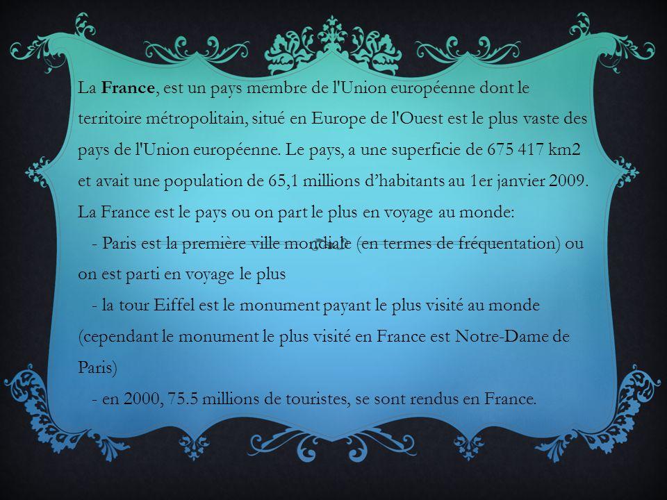 La France, est un pays membre de l'Union européenne dont le territoire métropolitain, situé en Europe de l'Ouest est le plus vaste des pays de l'Union