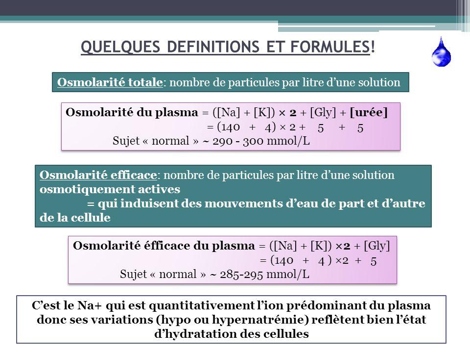QUELQUES DEFINITIONS ET FORMULES! Osmolarité totale: nombre de particules par litre dune solution Osmolarité du plasma = ([Na] + [K]) × 2 + [Gly] + [u