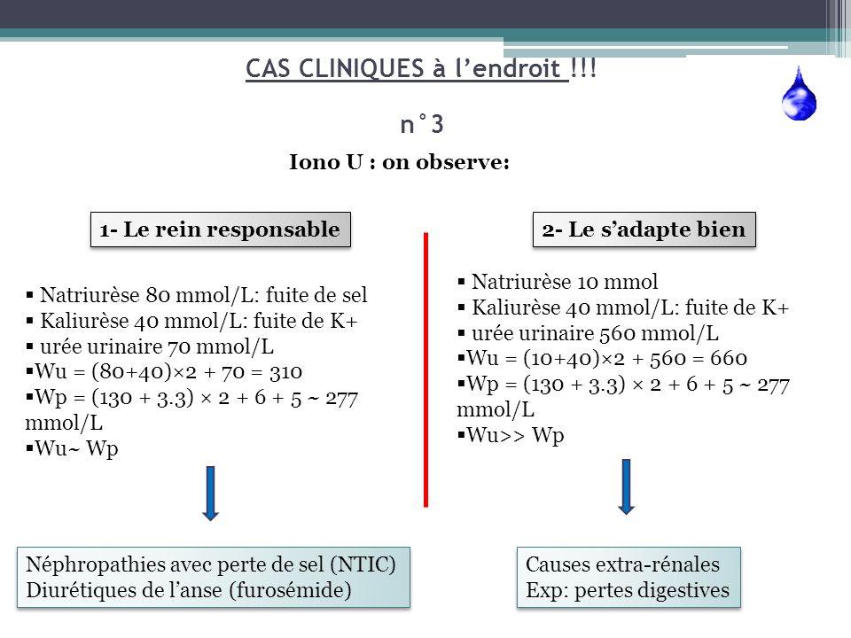 Natriurèse 80 mmol/L: fuite de sel Kaliurèse 40 mmol/L: fuite de K+ urée urinaire 70 mmol/L Wu = (80+40)×2 + 70 = 310 Wp = (130 + 3.3) × 2 + 6 + 5 ~ 2