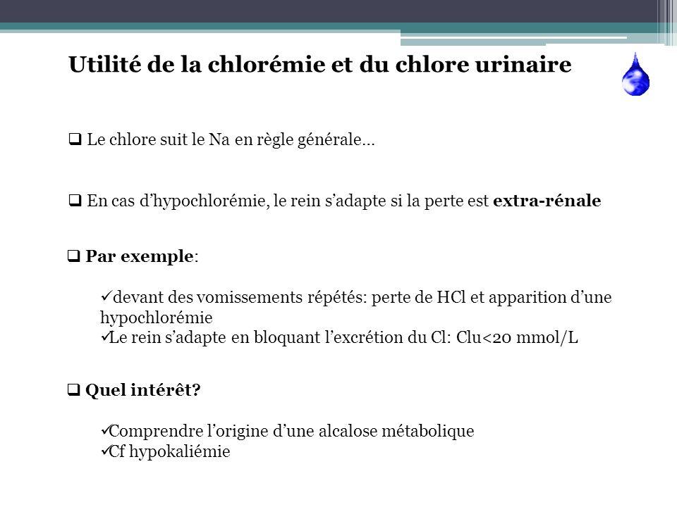 Utilité de la chlorémie et du chlore urinaire Le chlore suit le Na en règle générale… En cas dhypochlorémie, le rein sadapte si la perte est extra-rén