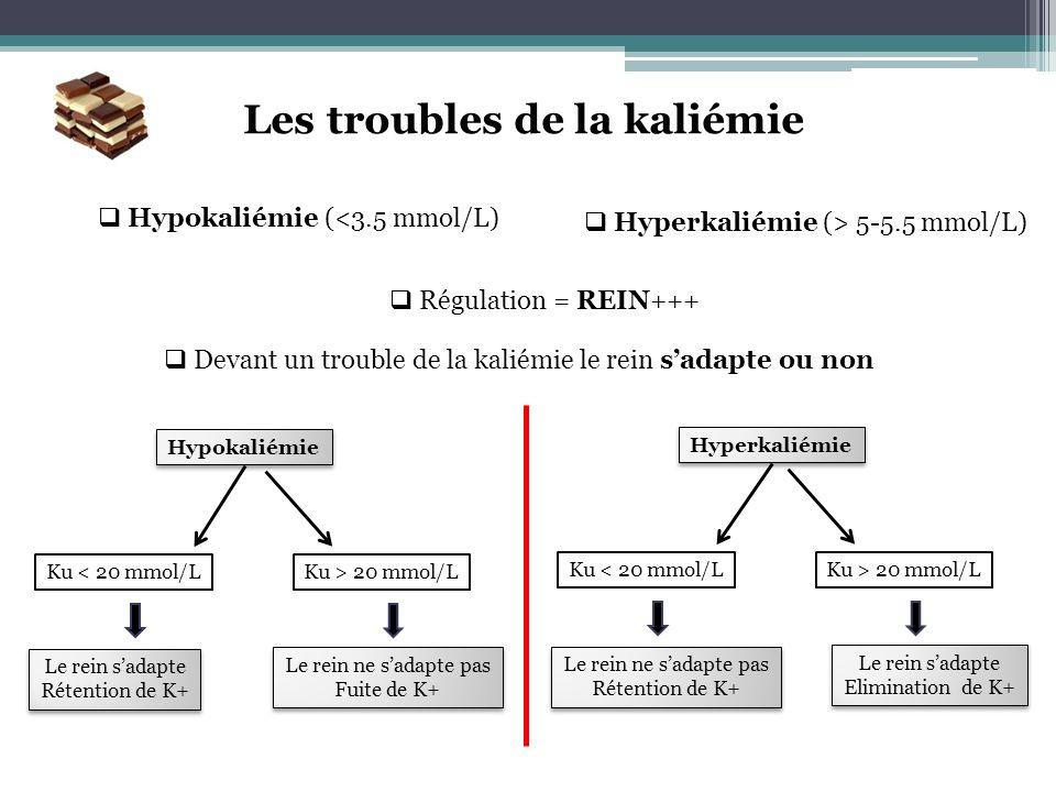 Les troubles de la kaliémie Hypokaliémie (<3.5 mmol/L) Hyperkaliémie (> 5-5.5 mmol/L) Régulation = REIN+++ Devant un trouble de la kaliémie le rein sa