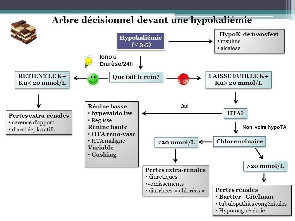 Arbre décisionnel devant une hypokaliémie Hypokaliémie (< 3.5) Hypokaliémie (< 3.5) HypoK de transfert insuline alcalose HypoK de transfert insuline a