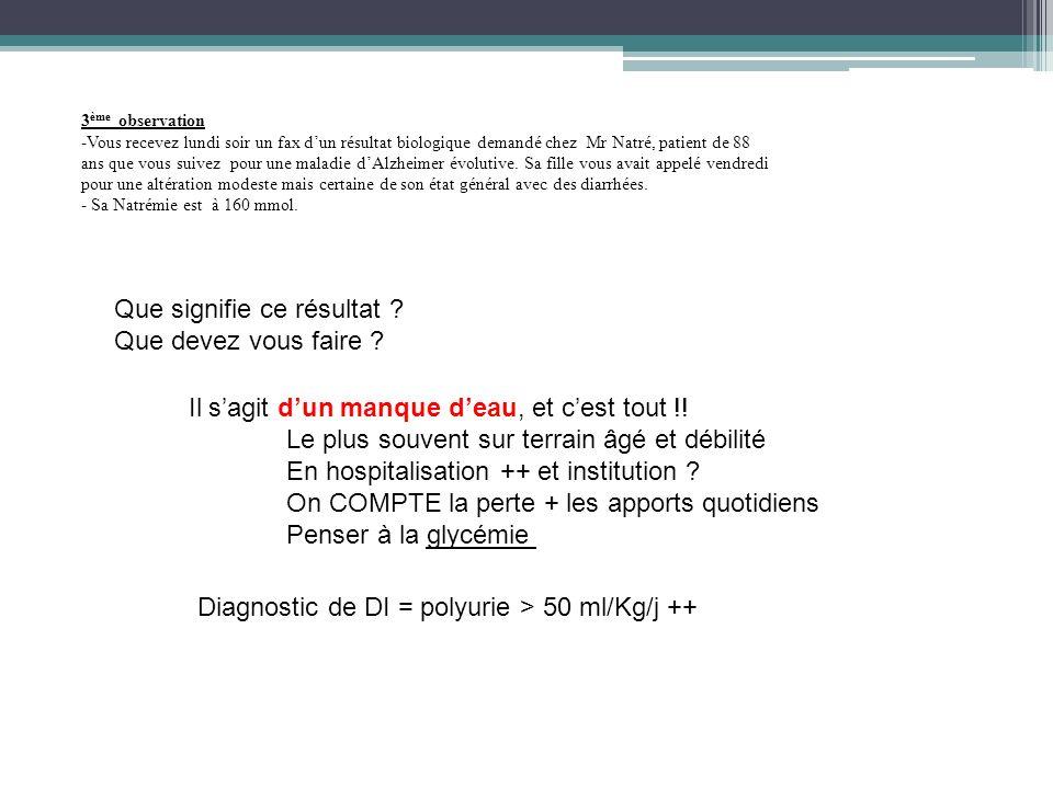 3 ème observation -Vous recevez lundi soir un fax dun résultat biologique demandé chez Mr Natré, patient de 88 ans que vous suivez pour une maladie dA