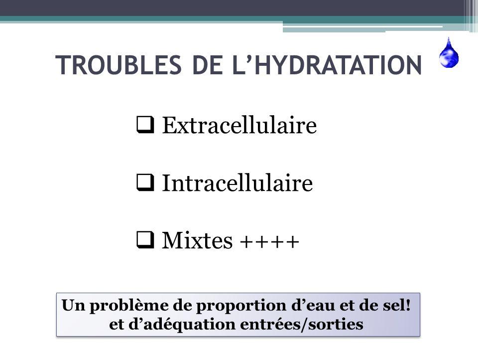 Si on résume…les outils… Le secteur Extracellulaire Le secteur Intracellulaire 1- Anamnèse pour évaluer 2- Lexamen clinique: POIDS ++, PA, FC, pli cutané, oedèmes 3- La biologie sang: protides, Hb, Ht Urines: natriurèse 1- Anamnèse 2- Lexamen clinique: les « troubles neurologiques » 3- La biologie sang: natrémie, osmolarité efficace (Na+K)×2 + G Urines: concentration des urines: osmolarité urinaire : (Na + K) × 2 + Urée + glucose