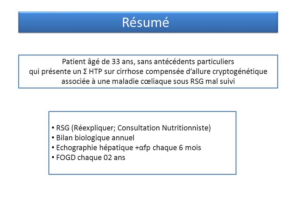 Résumé Patient âgé de 33 ans, sans antécédents particuliers qui présente un Σ HTP sur cirrhose compensée dallure cryptogénétique associée à une maladi