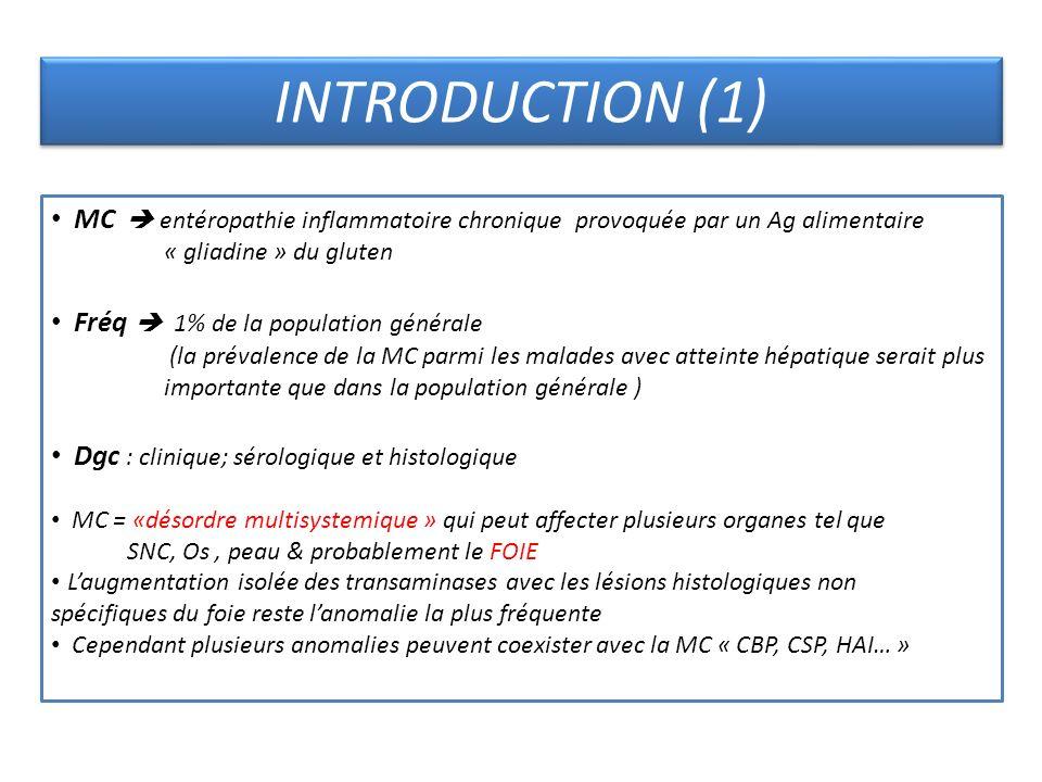 MC entéropathie inflammatoire chronique provoquée par un Ag alimentaire « gliadine » du gluten Fréq 1% de la population générale (la prévalence de la
