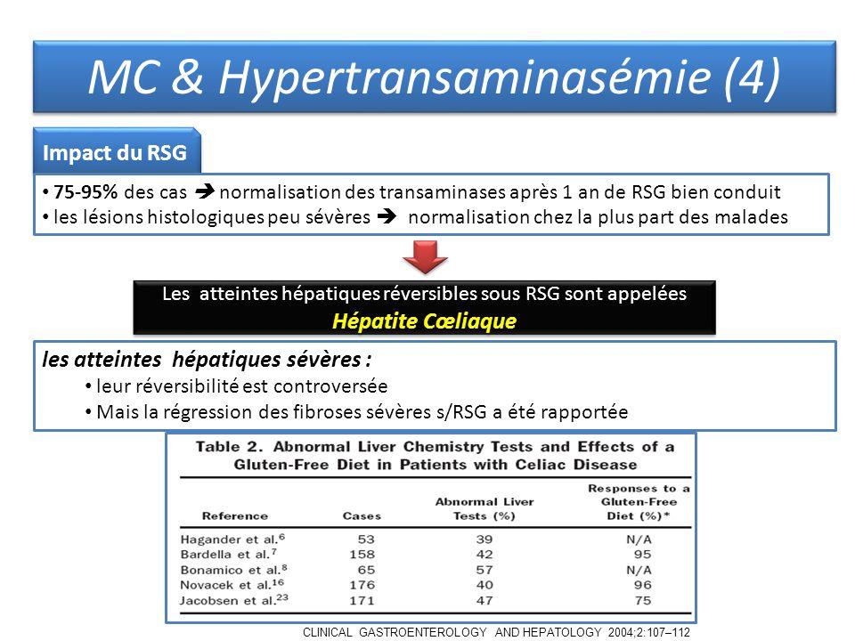 MC & Hypertransaminasémie (4) Impact du RSG 75-95% des cas normalisation des transaminases après 1 an de RSG bien conduit les lésions histologiques peu sévères normalisation chez la plus part des malades Les atteintes hépatiques réversibles sous RSG sont appelées Hépatite Cœliaque les atteintes hépatiques sévères : leur réversibilité est controversée Mais la régression des fibroses sévères s/RSG a été rapportée CLINICAL GASTROENTEROLOGY AND HEPATOLOGY 2004;2:107–112