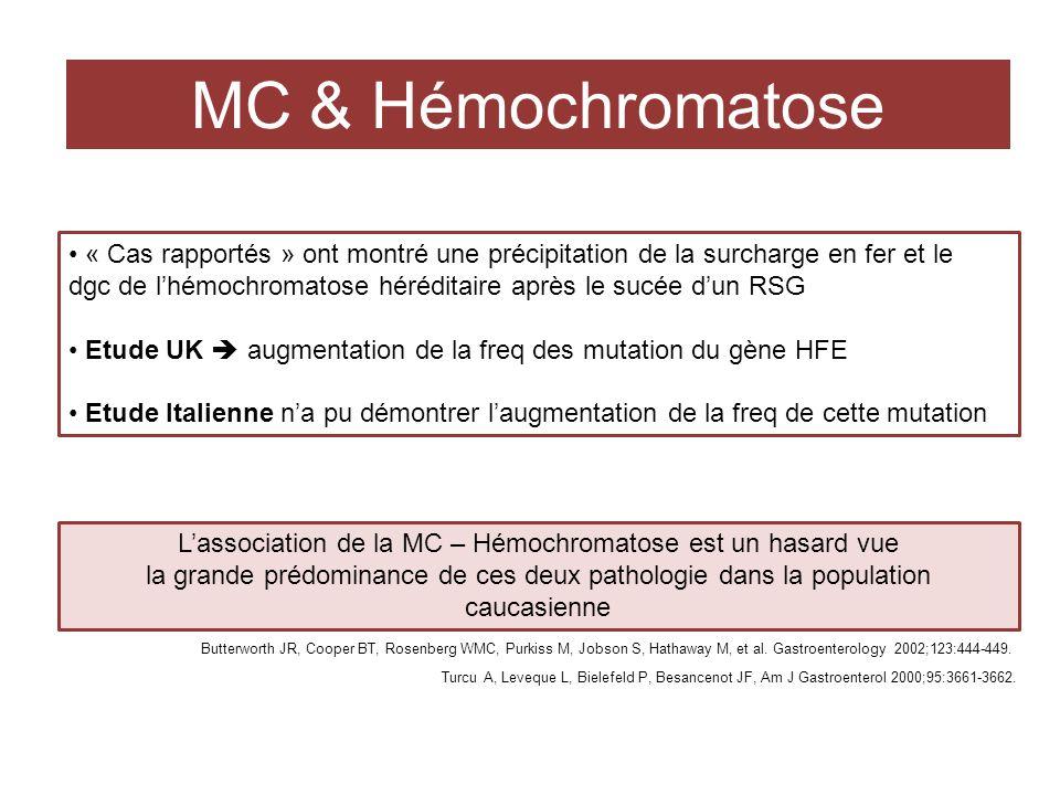 MC & Hémochromatose « Cas rapportés » ont montré une précipitation de la surcharge en fer et le dgc de lhémochromatose héréditaire après le sucée dun RSG Etude UK augmentation de la freq des mutation du gène HFE Etude Italienne na pu démontrer laugmentation de la freq de cette mutation Lassociation de la MC – Hémochromatose est un hasard vue la grande prédominance de ces deux pathologie dans la population caucasienne Turcu A, Leveque L, Bielefeld P, Besancenot JF, Am J Gastroenterol 2000;95:3661-3662.