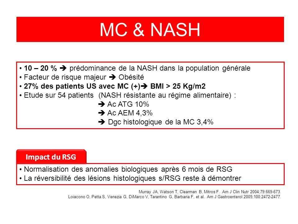 MC & NASH 10 – 20 % prédominance de la NASH dans la population générale Facteur de risque majeur Obésité 27% des patients US avec MC (+) BMI > 25 Kg/m2 Etude sur 54 patients (NASH résistante au régime alimentaire) : Ac ATG 10% Ac AEM 4,3% Dgc histologique de la MC 3,4% Impact du RSG Normalisation des anomalies biologiques après 6 mois de RSG La réversibilité des lésions histologiques s/RSG reste à démontrer Murray JA, Watson T, Clearman B, Mitros F.