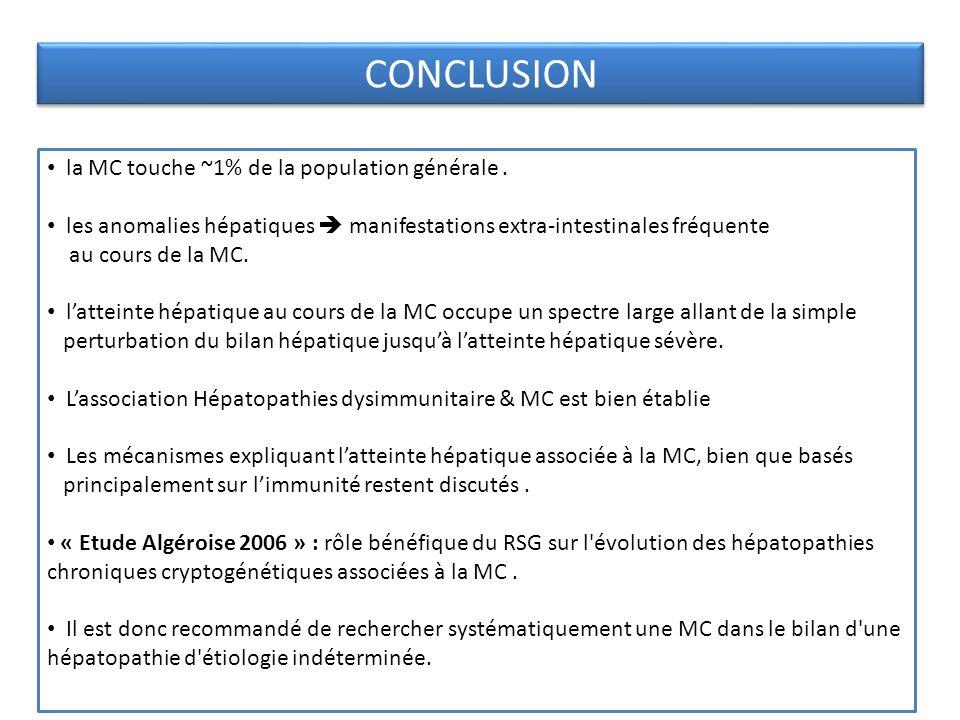 CONCLUSION la MC touche ~1% de la population générale. les anomalies hépatiques manifestations extra-intestinales fréquente au cours de la MC. lattein