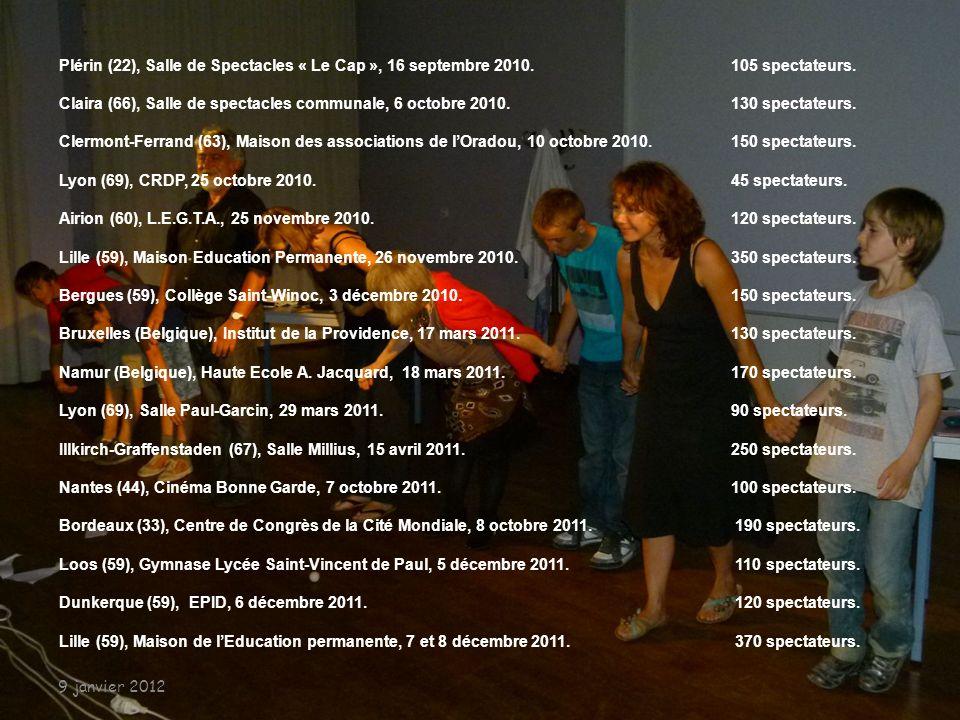 De la création, en octobre 2008, à décembre 2011 Thiers (63), Salle Espace, 24 octobre 2008. 150 spectateurs Clermont-Ferrand (63), Palais des Congrès