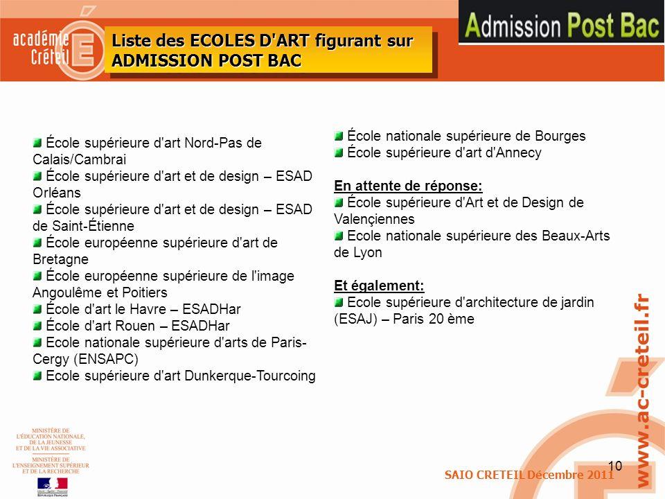 10 SAIO CRETEIL Décembre 2011 Liste des ECOLES D'ART figurant sur ADMISSION POST BAC École supérieure d'art Nord-Pas de Calais/Cambrai École supérieur