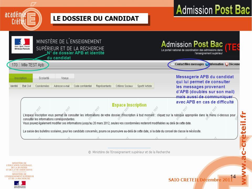 14 LE DOSSIER DU CANDIDAT N° de dossier APB et identité du candidat Messagerie APB du candidat qui lui permet de consulter les messages provenant dAPB