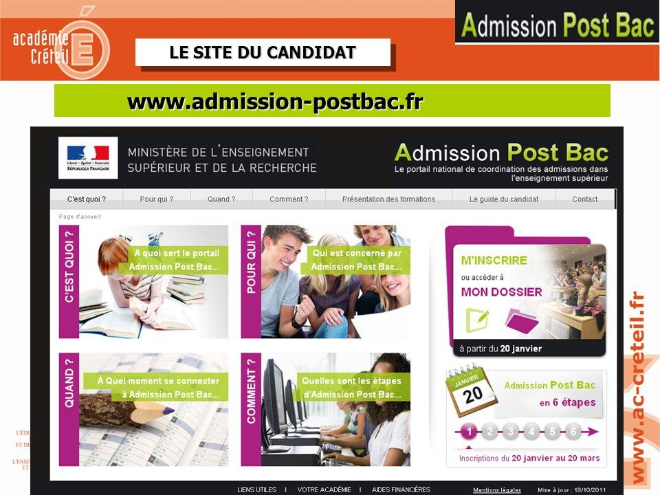 2 LE SITE DU CANDIDAT REVOIR SITE TEST 2-11 www.admission-postbac.fr
