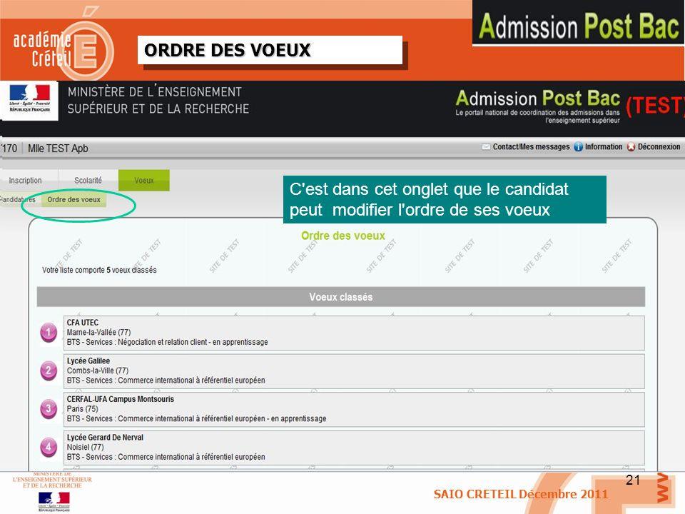 21 ORDRE DES VOEUX SAIO CRETEIL Décembre 2011 C'est dans cet onglet que le candidat peut modifier l'ordre de ses voeux