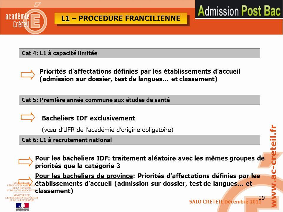 29 Cat 4: L1 à capacité limitée Priorités daffectations définies par les établissements daccueil (admission sur dossier, test de langues… et classemen