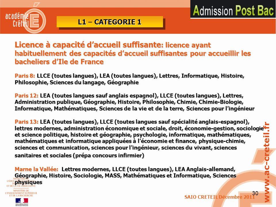 30 Licence à capacité daccueil suffisante : licence ayant habituellement des capacités daccueil suffisantes pour accueillir les bacheliers dIle de Fra