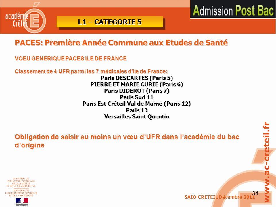 34 PACES: Première Année Commune aux Etudes de Santé VOEU GENERIQUE PACES ILE DE FRANCE Classement de 4 UFR parmi les 7 médicales dIle de France: Pari