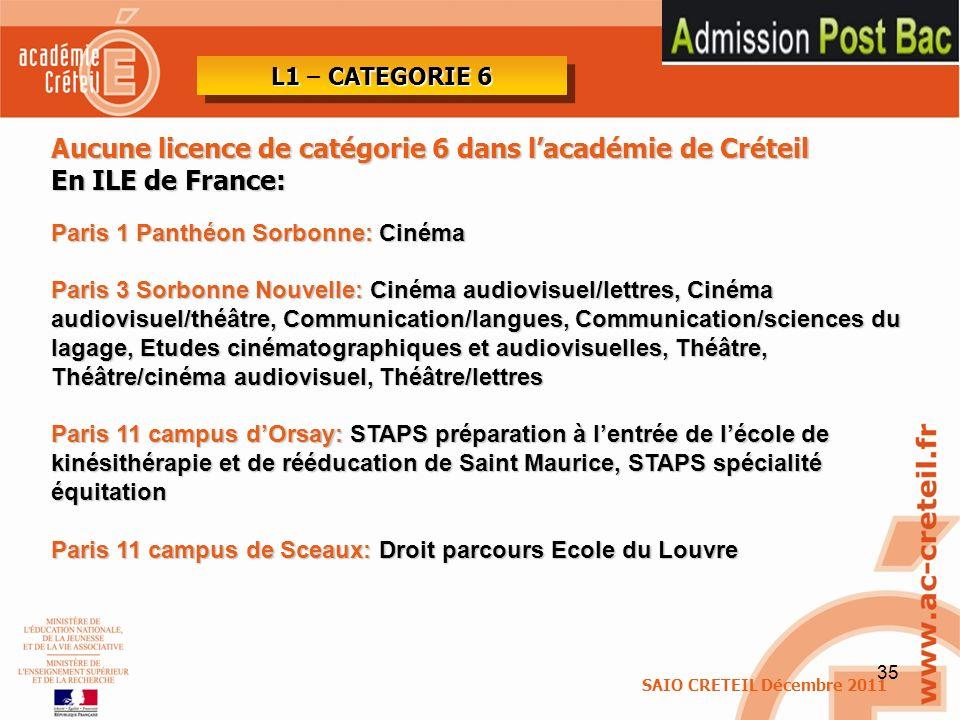 35 Aucune licence de catégorie 6 dans lacadémie de Créteil En ILE de France: Paris 1 Panthéon Sorbonne: Cinéma Paris 3 Sorbonne Nouvelle: Cinéma audio