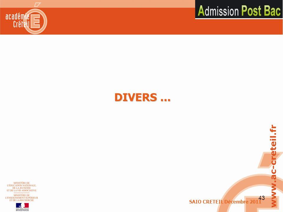 43 DIVERS... SAIO CRETEIL Décembre 2011