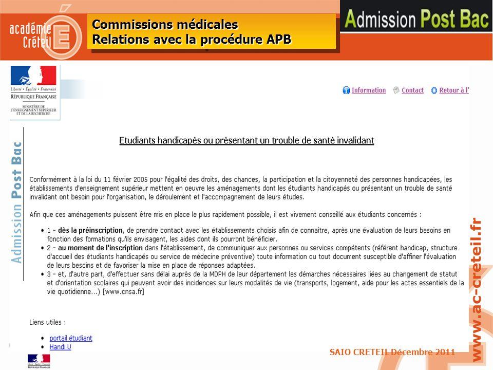 44 Commissions médicales Relations avec la procédure APB SAIO CRETEIL Décembre 2011