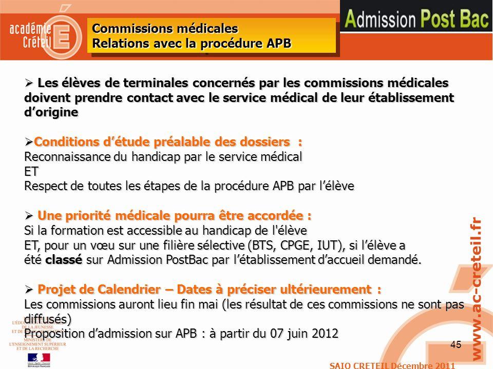 45 Les élèves de terminales concernés par les commissions médicales doivent prendre contact avec le service médical de leur établissement dorigine Les