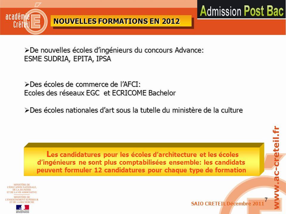 8 Liste des ECOLES D INGENIEUR figurant sur ADMISSION POST BAC INSA (Instituts nationaux des sciences appliquées) UT (Universités de technologie) PEIP (Parcours des écoles d ingénieurs Polytech) ENI (Écoles nationales d ingénieurs) CIP (Cycle préparatoire intégré Lille/Clermont- Ferrand-Rennes) CPP (Cycle préparatoire Polytechnique) GEIPI (Groupement d écoles d ingénieurs publiques à parcours intégré) CPBx (Cycle préparatoire de Bordeaux) ESIDAI (École supérieure d ingénieurs en développement agroalimentaire intégré) ESIGELEC Rouen ESISAR Valence (École nationale supérieure en système avancés et réseaux) IIT BTP (Institut d ingénieur des techniques du bâtiment et des travaux publics) ISTIA (STI/STL) (Institut des sciences et techniques de l ingénieur d Angers) EISTI (Cergy/Paul) ENSIAME ENSIAME ITII ISIV IG2I ITEEM École centrale de Lille Concours Avenir École supérieure d ingénieurs (ECE, EPF, ESTACA, EIGSI) EFREI ESIGETEL EME ESTPBI (École spéciale des travaux publics, du bâtiment et de l industrie) ESI (École supérieure Léonard de Vinci) ESITC CACHAN (École supérieure d ingénieurs des travaux de la construction de Cachan) FESIC (Admission FESIC – concours puissance 11, Admission FESIC-ECAM – institut Polytechnique La salle Beauvais « Admission FESIC-salle Beauvais SVT » Concours ADVANCE (ESME SUDRIA, EPITA, IPSA)