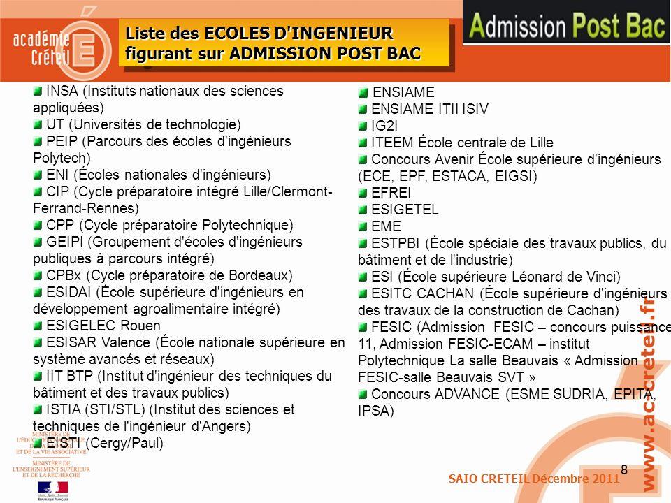 8 Liste des ECOLES D'INGENIEUR figurant sur ADMISSION POST BAC INSA (Instituts nationaux des sciences appliquées) UT (Universités de technologie) PEIP