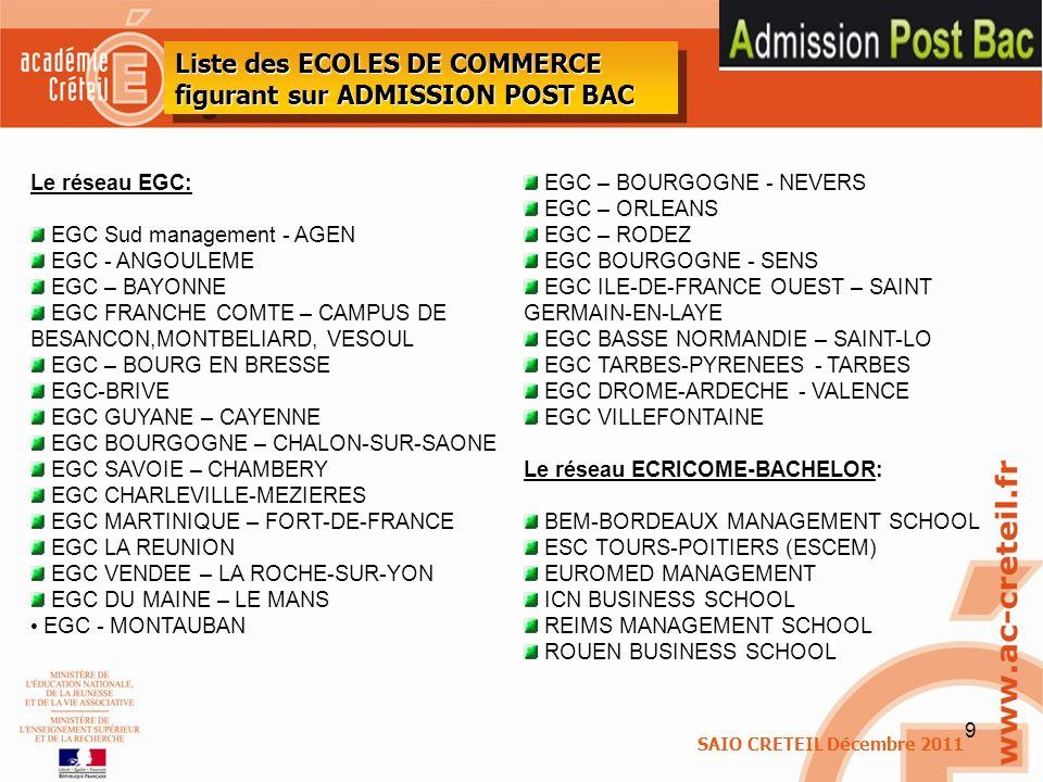 9 SAIO CRETEIL Décembre 2011 Liste des ECOLES DE COMMERCE figurant sur ADMISSION POST BAC Le réseau EGC: EGC Sud management - AGEN EGC - ANGOULEME EGC